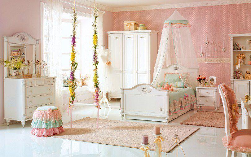 : غرف نوم بنات 2016 وردي : غرف