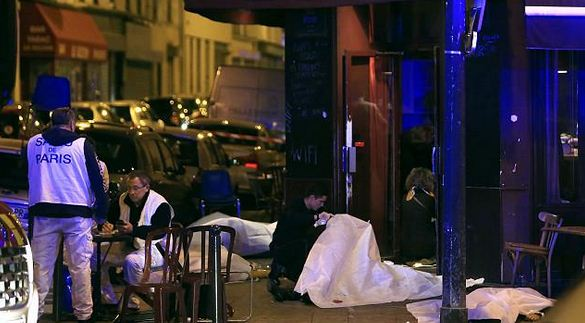 The center of Paris bombings