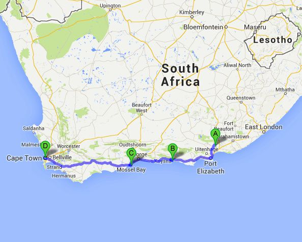 Map Of Driving The Garden Route