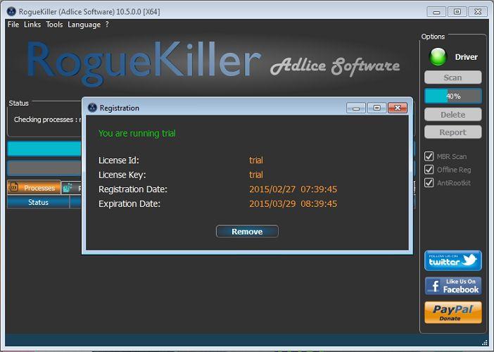 واجهة برنامج RogueKiller