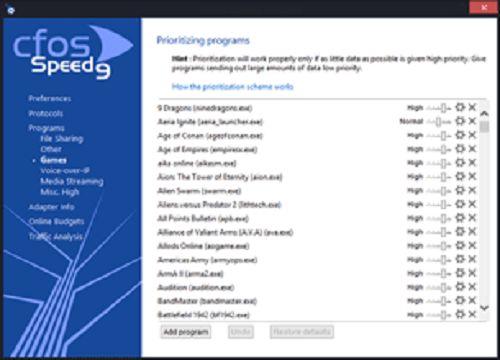 تحميل برنامج cFosSpeed لتسريع الانترنت وزيادة سرعة التحميل The-program-interfac