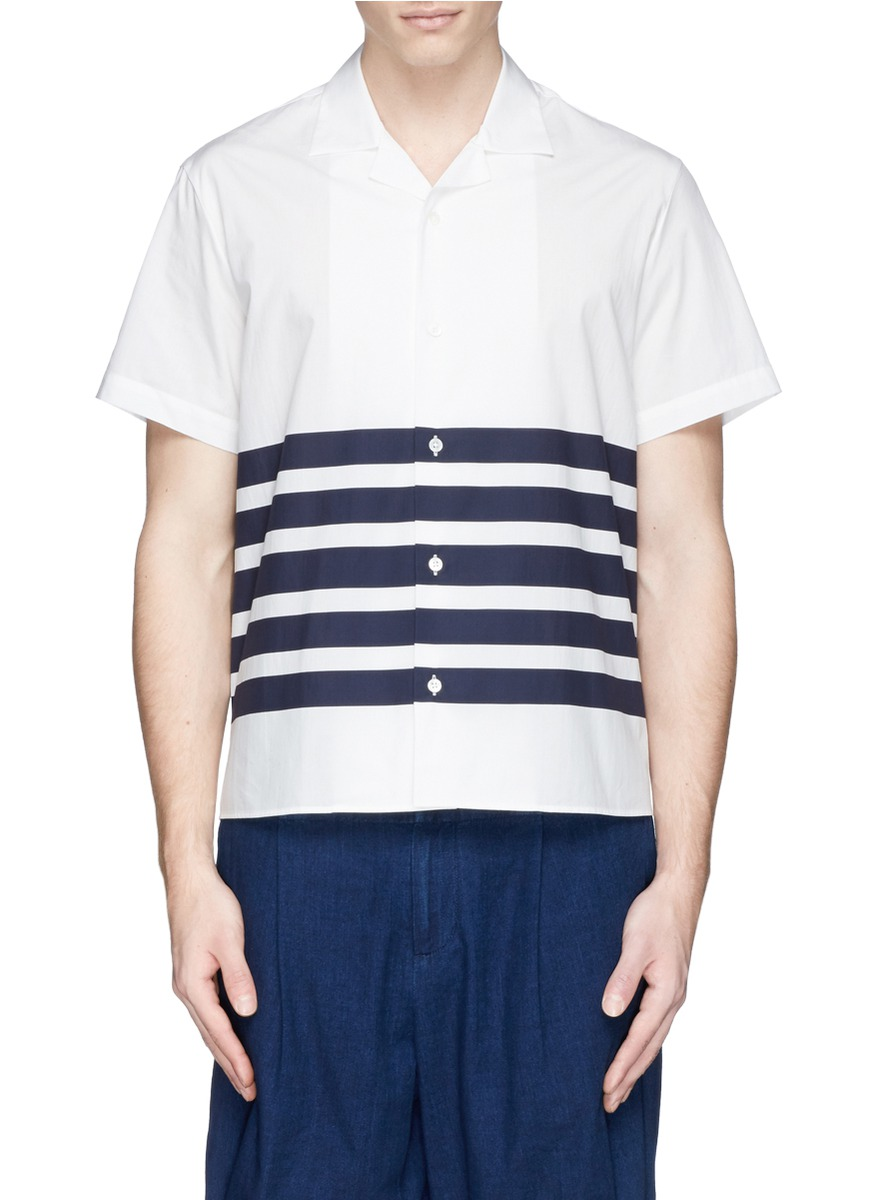acne studios ody striped cotton poplin shirt