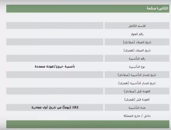 """نتيج الاستعلام عن تأشيرة خروج وعودة"""" السعودية"""""""