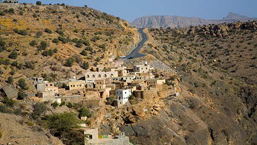 The mountain villages of Oman's Jebel Akhdar (Green Mountain) are perched precariously on the edge of sheer cliffs and command some of the most memorable views in the country