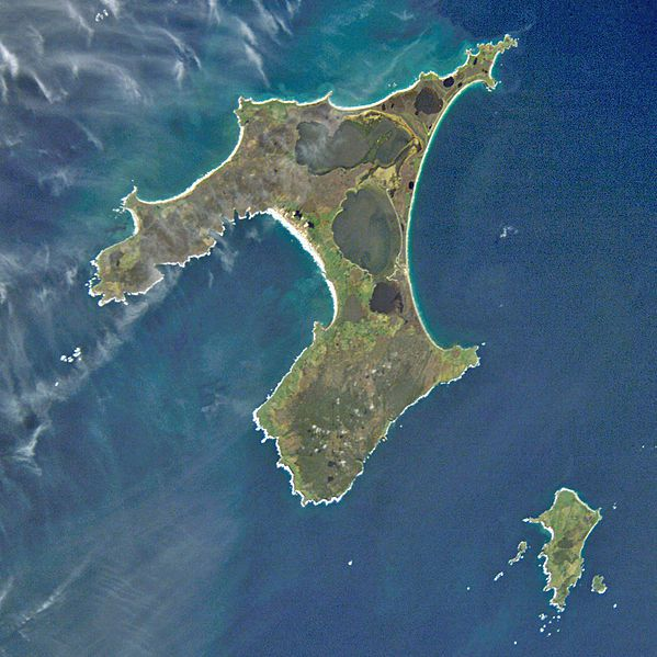 the Chatham Islands, New Zealand from the space