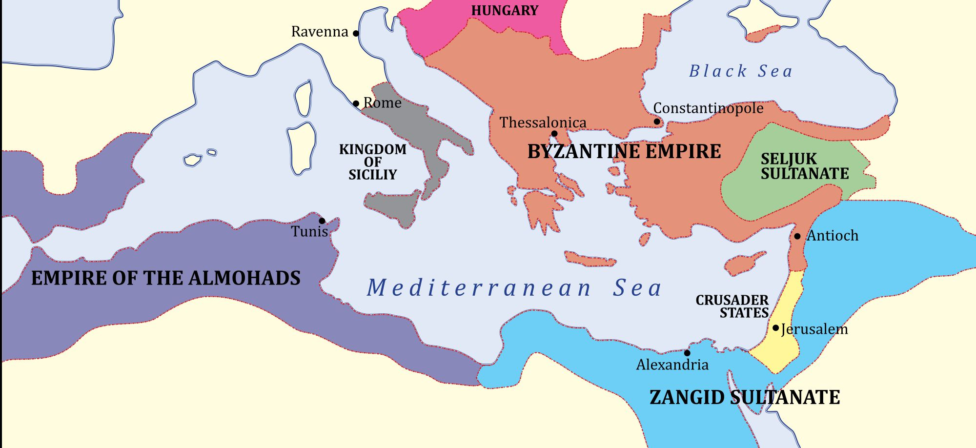 Byzantine Empire in orange