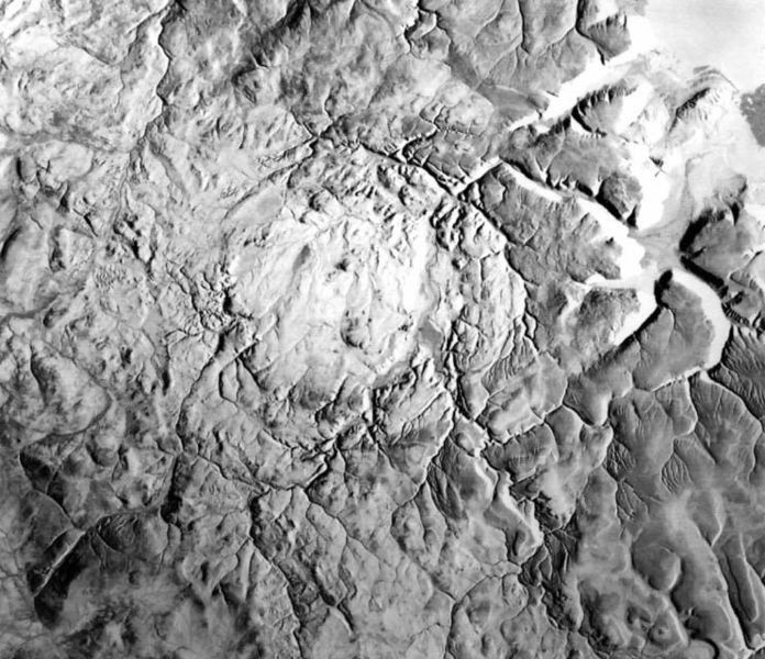 Radar image of the Haughton impact crater