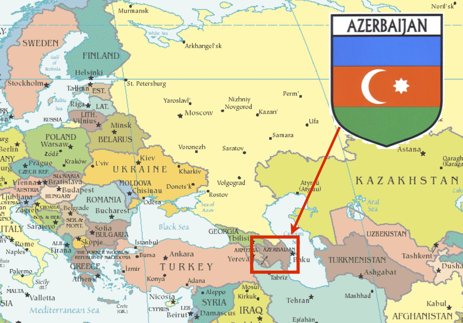 معلومات عن اذربيجان وحدودها الدولية وتاريخها المرسال