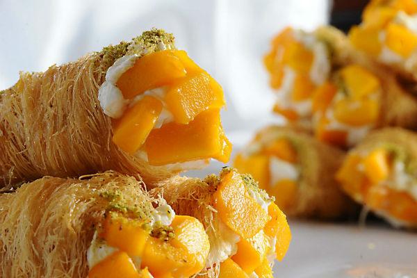 طريقة اعداد كورنية الكنافة بالمانجو Cornet-mango-dish-Ku