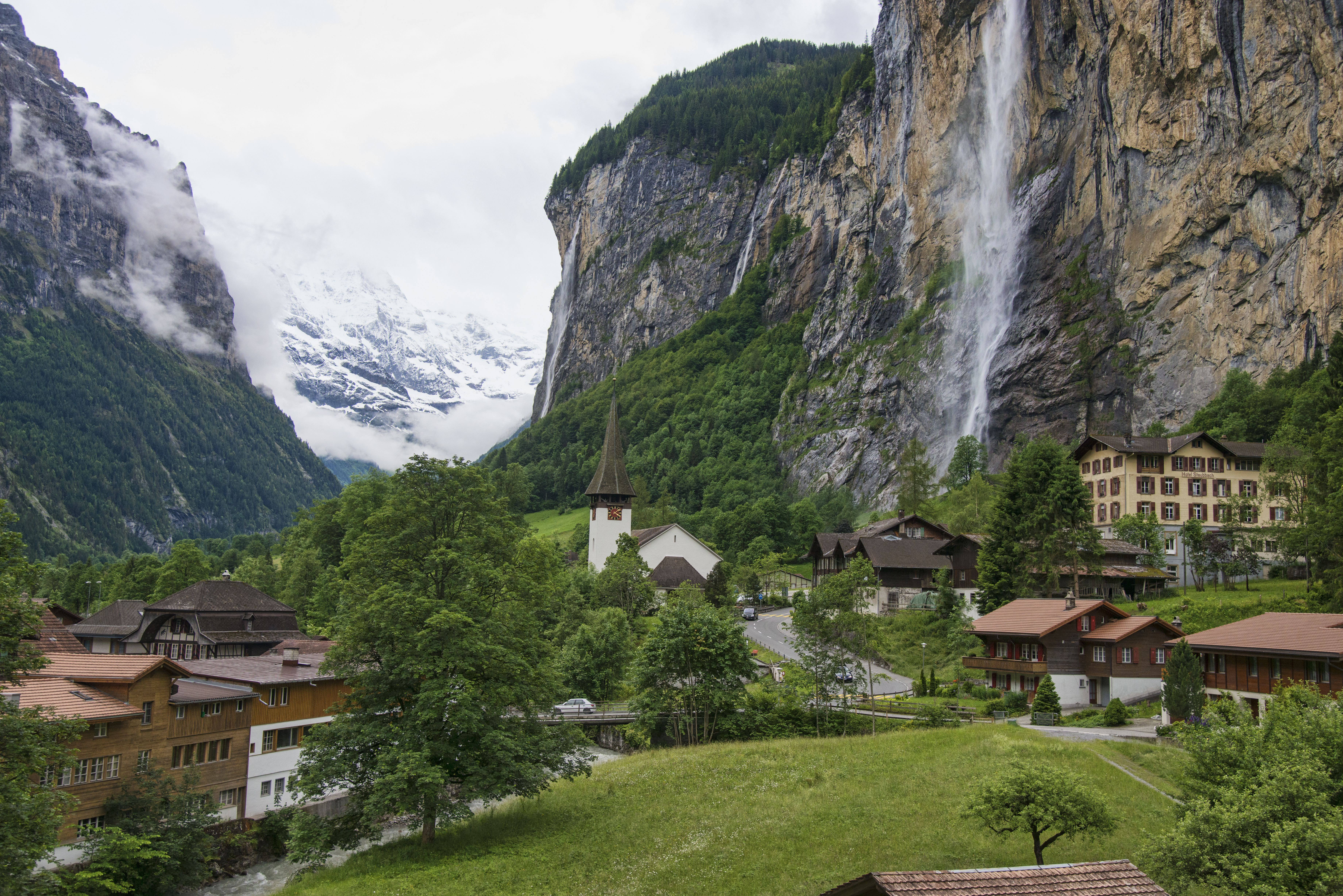 Lauterbrunnen is a tiny town cluttered not with tourists but with Swiss chalet architecture