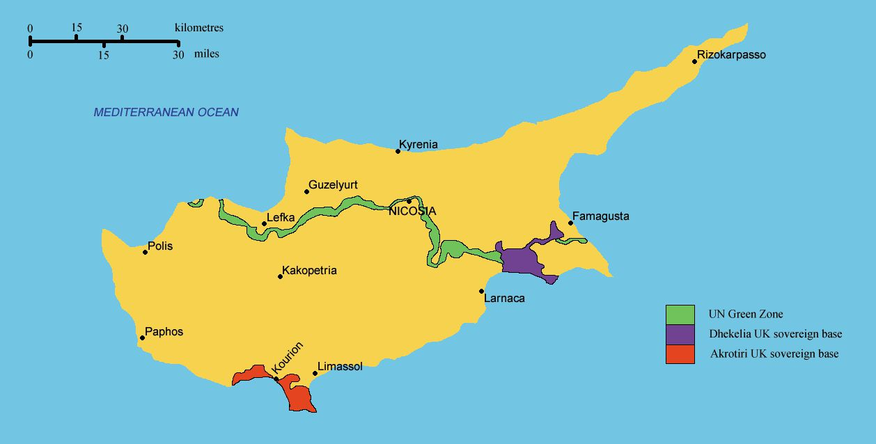 Map of Military bases in Cyprus
