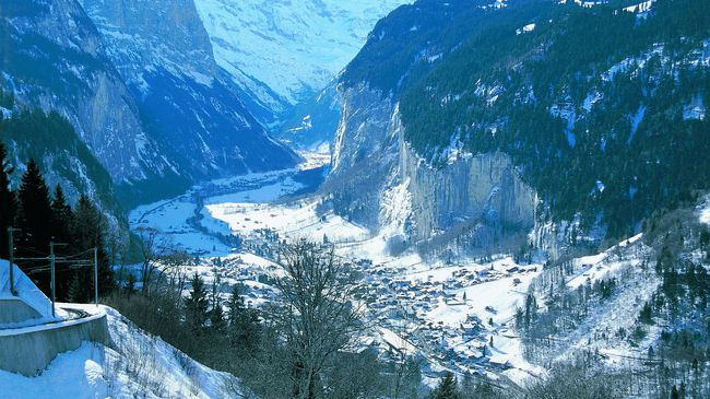 The valley town of Lauterbrunnen