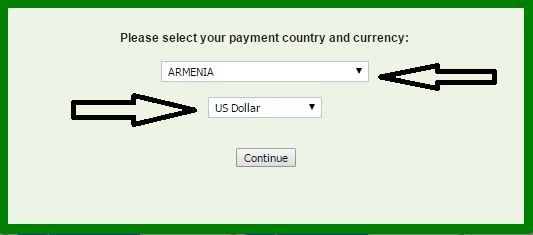اختيار الدولة و العملة