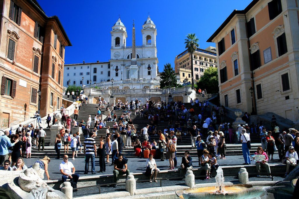 7- The famous Spanish Steps are between two of the most beautiful squares in Rome – Piazza di Spagna and Triniti dei Monti.