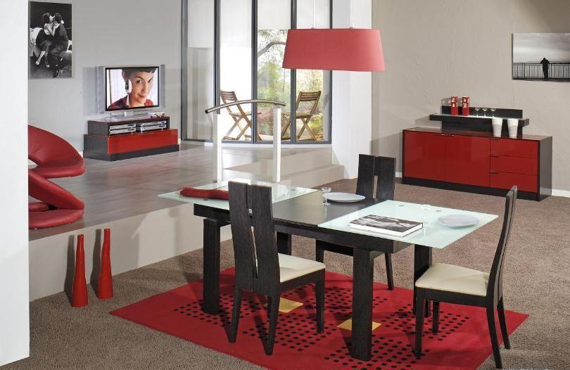 غرفة طعام أسود وأحمر