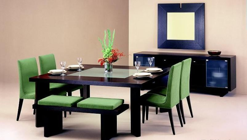 غرفة طعام أخضر وأزرق