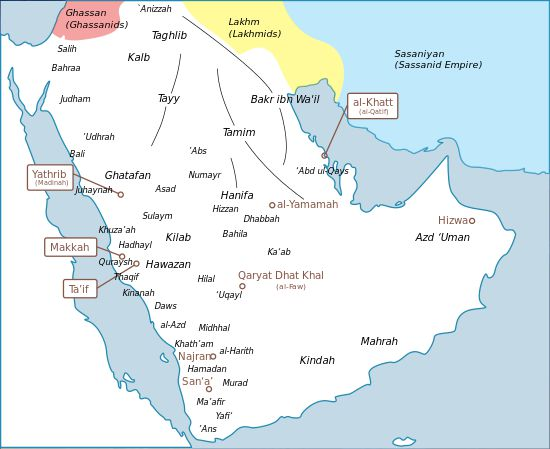 Map of Arabia's tribes before the rise of Islam