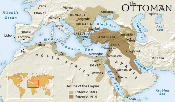 Map of The Ottoman Empire 1350 to 1918