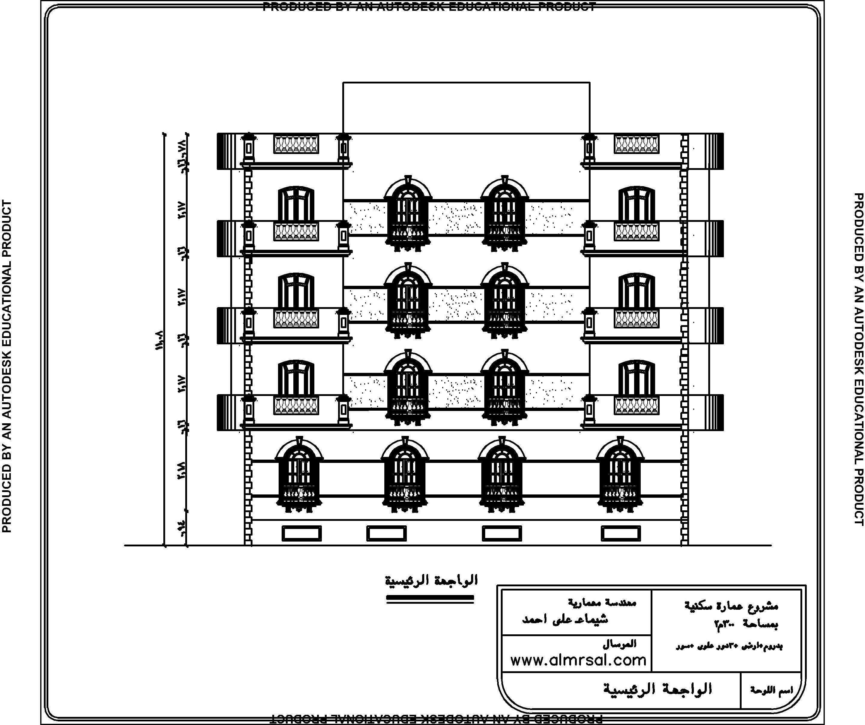 الواجهة الرئيسية لعمارة سكنية 300م2