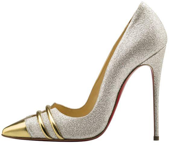 حذاء عالی فضی فی ذهبی