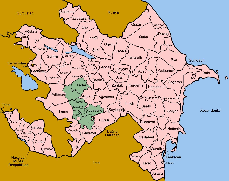 خريطة اذربيجان باللغة الإنجليزية