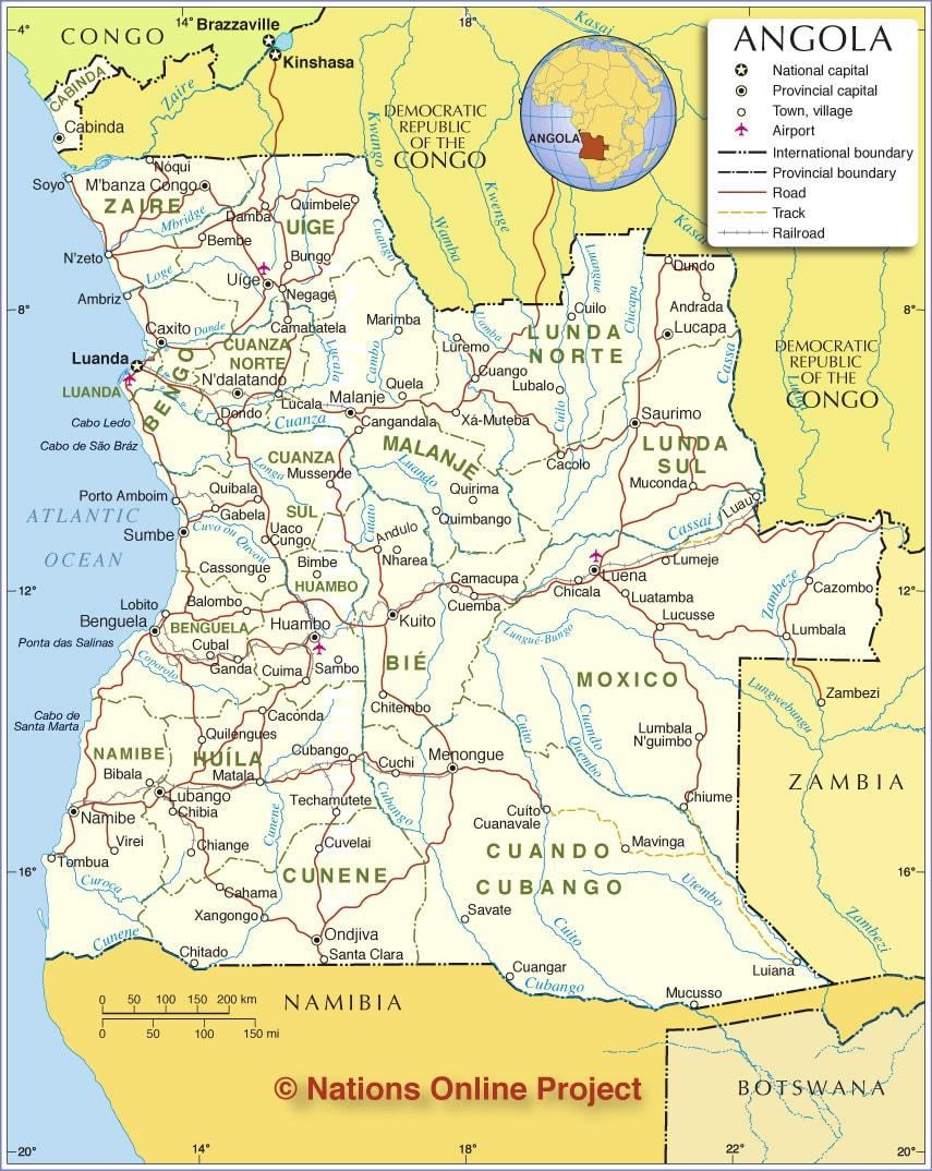 خريطة انغولا الإدارية