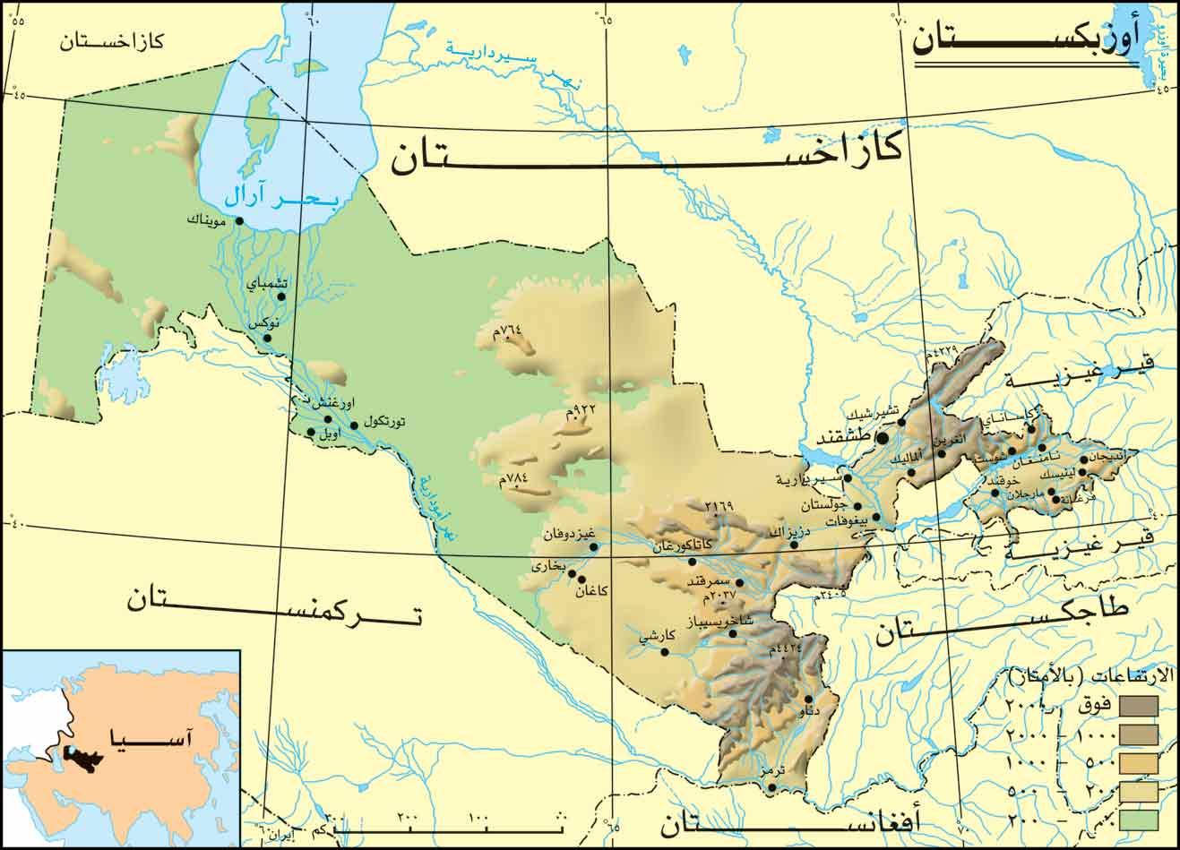 خريطة اوزباكستان