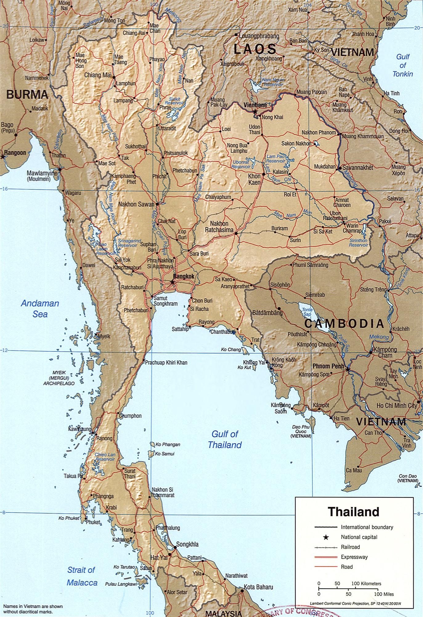 خريطة تايلاند بالتفصيل