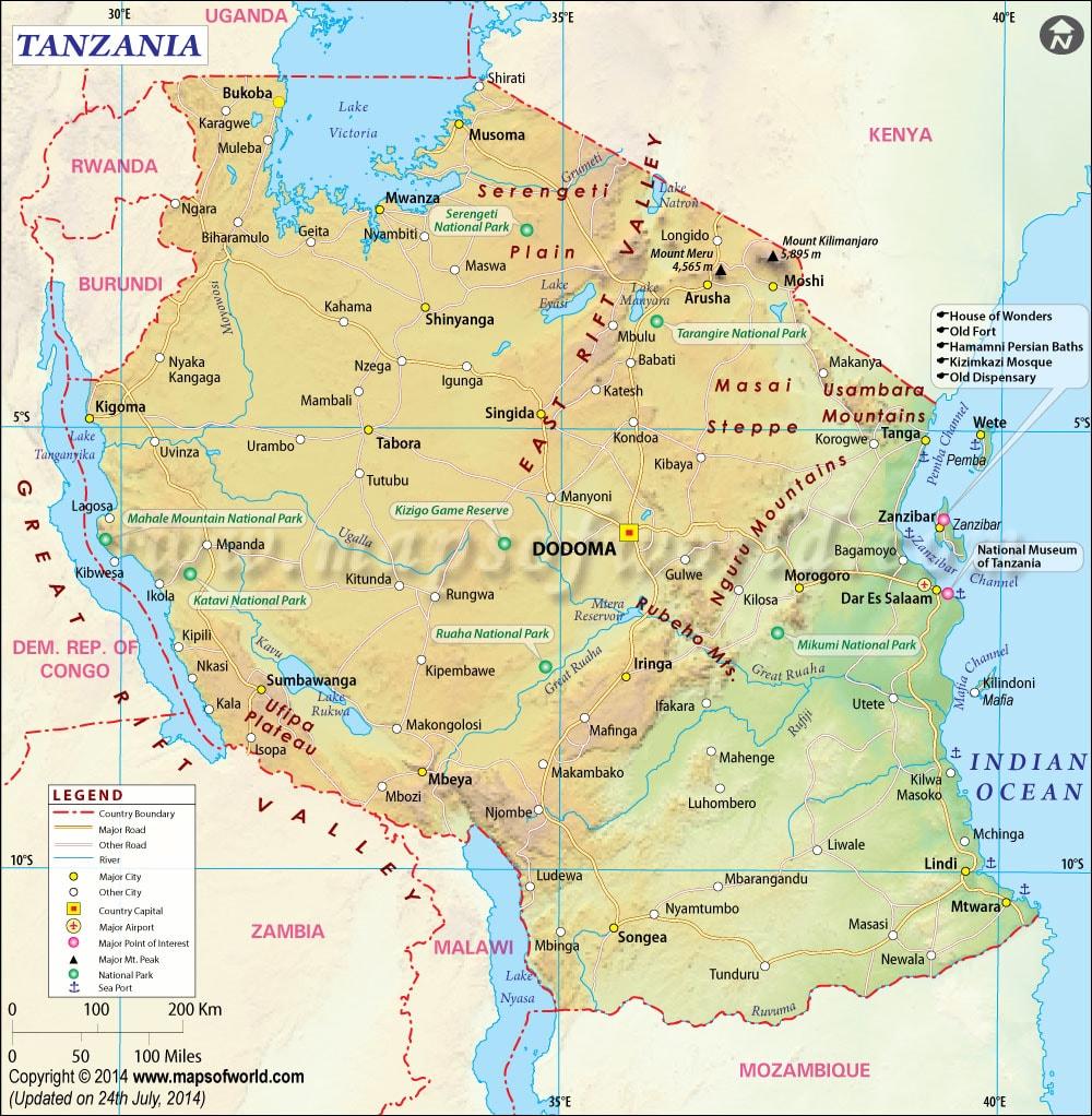 خريطة تنزانيا