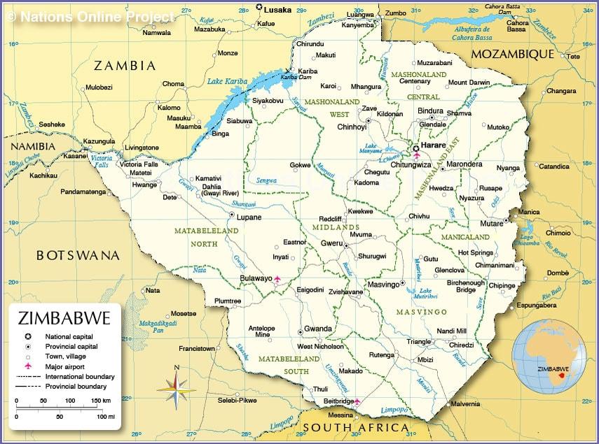 حريطة زيمبابوى
