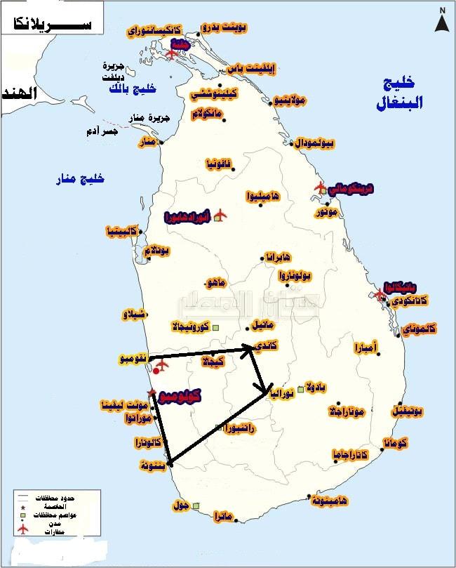 خريطة سريلانكا