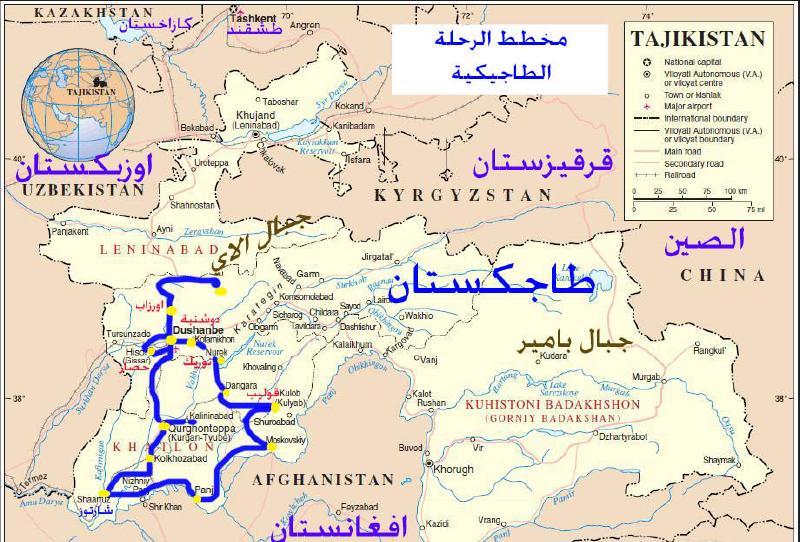 خريطة طاجكستان