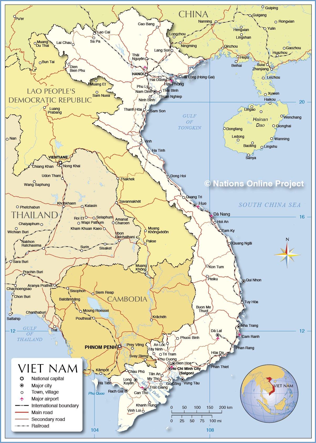 خريطة فيتنام و حدودها