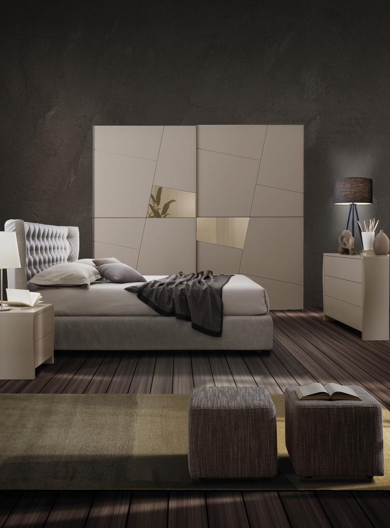 غرفة نوم ايطالي ابيض في رمادي  المرسال