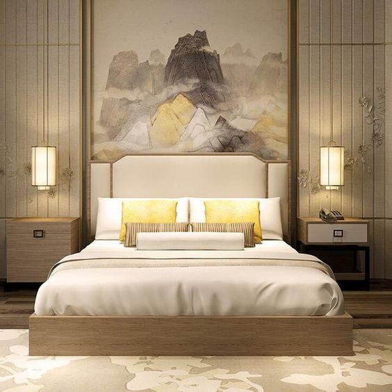 غرفة نوم صيني باللون الاصفر | المرسال