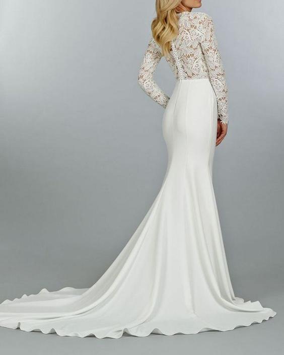 062ff7909 فستان زفاف ضيق بذيل   المرسال