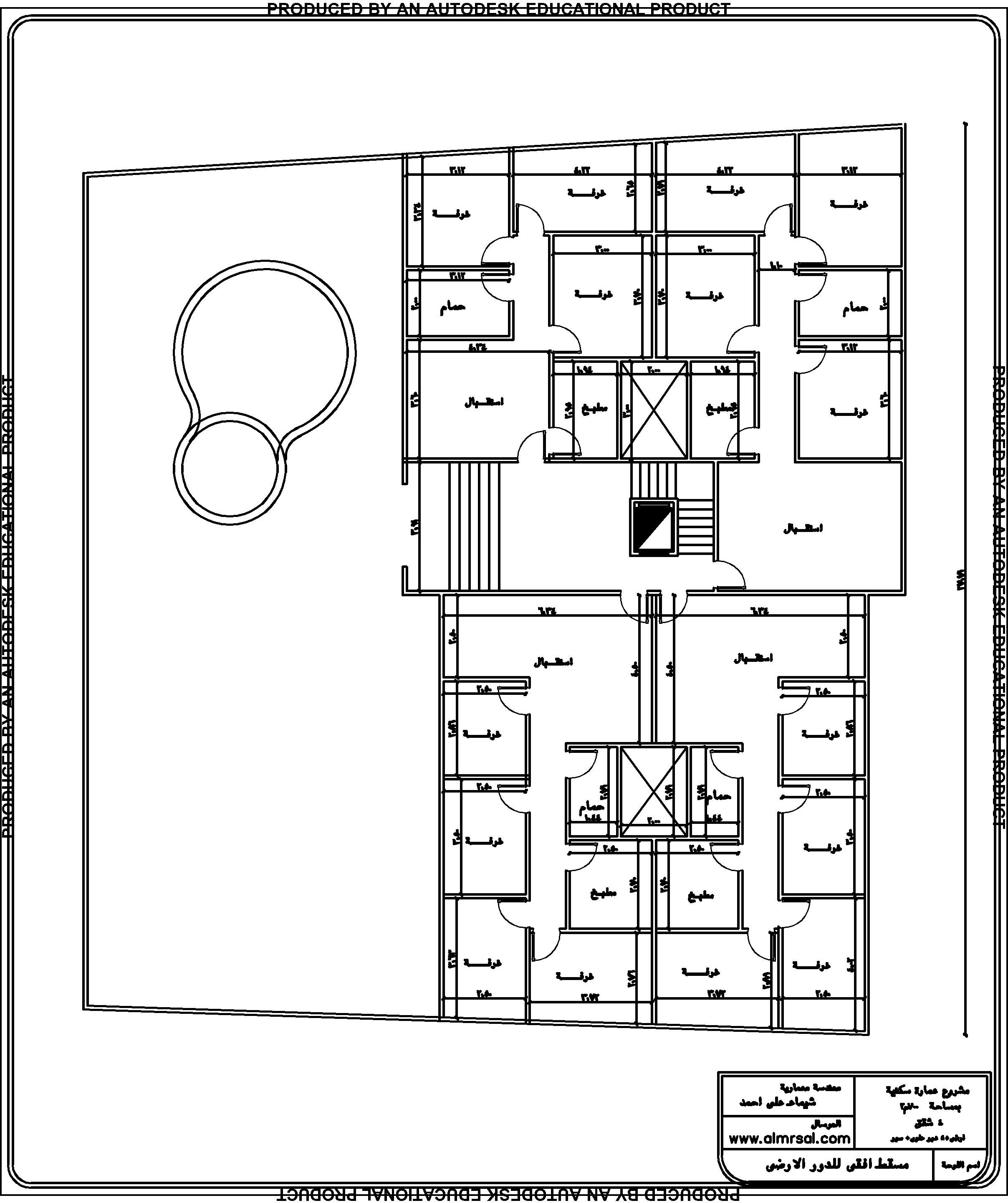 مسقط افقي للدور الارضي لعمارة سكنية 700م2 4 شقق