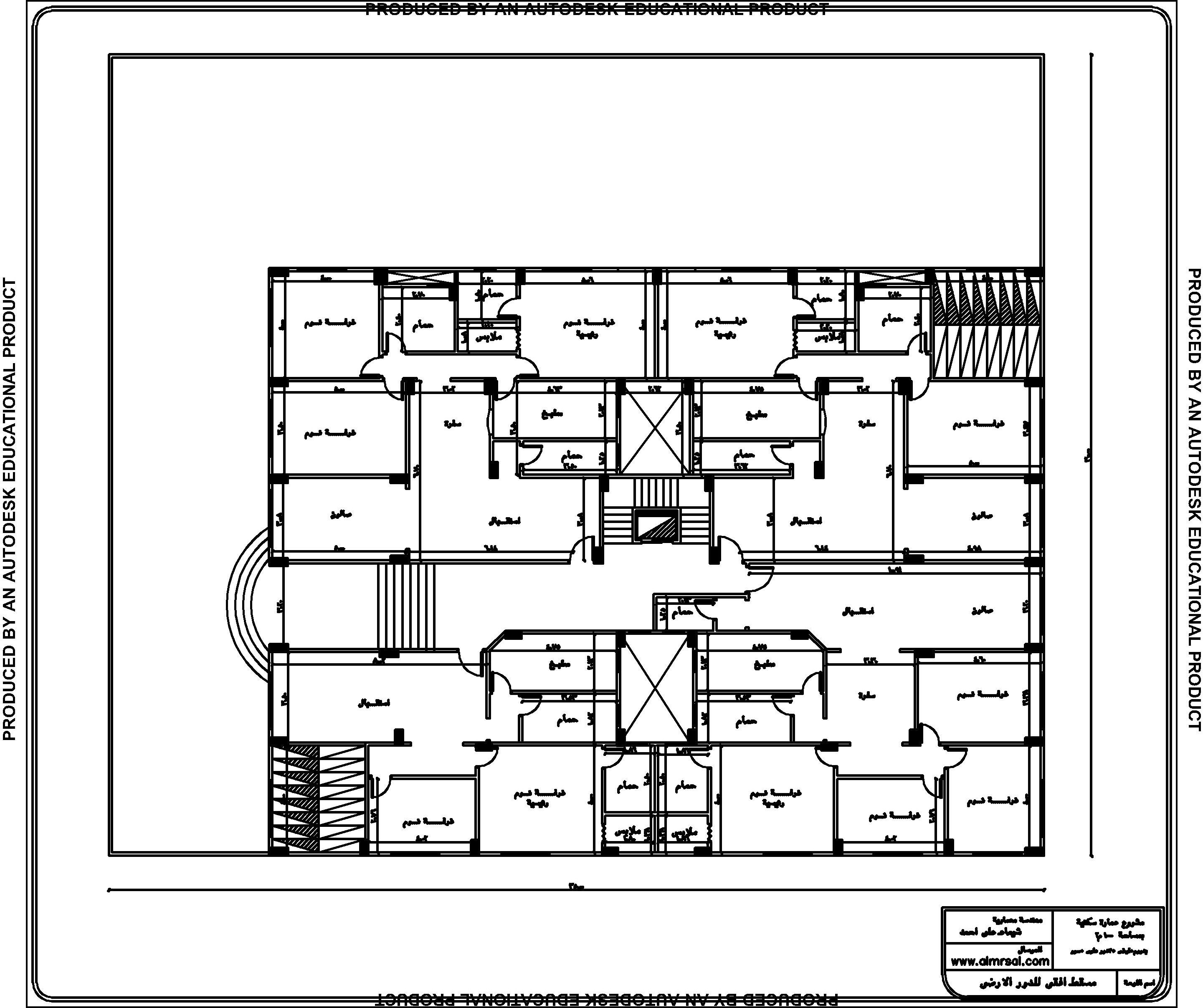 مسقط افقي للدور الارضي لعمارة سكنية 1000م1