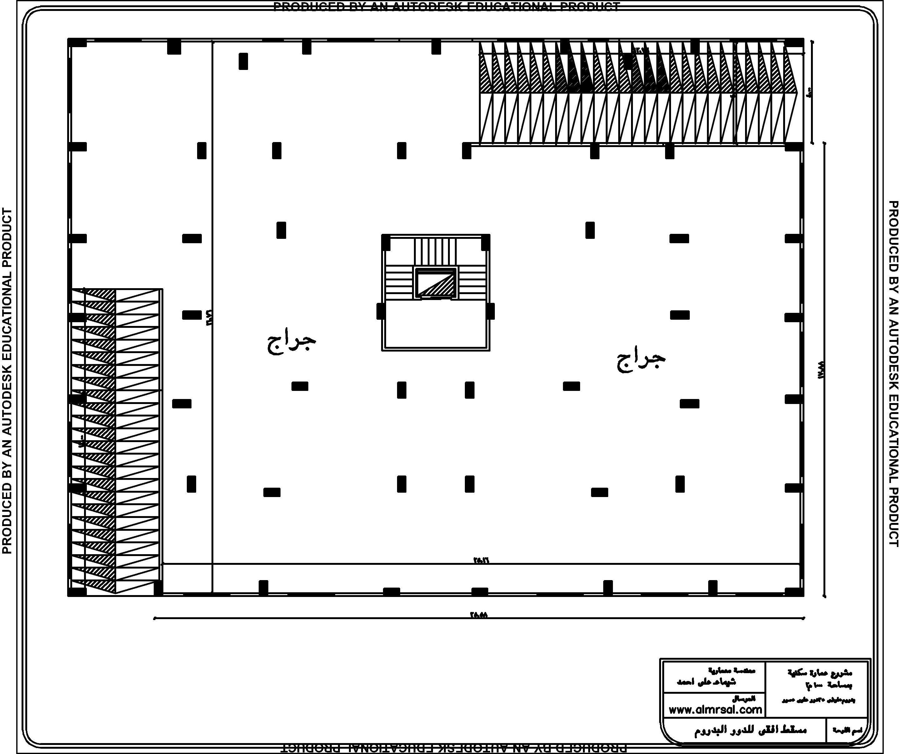 المسقط الافقي للدزر البدروم لعمارة سكنية 1000م2