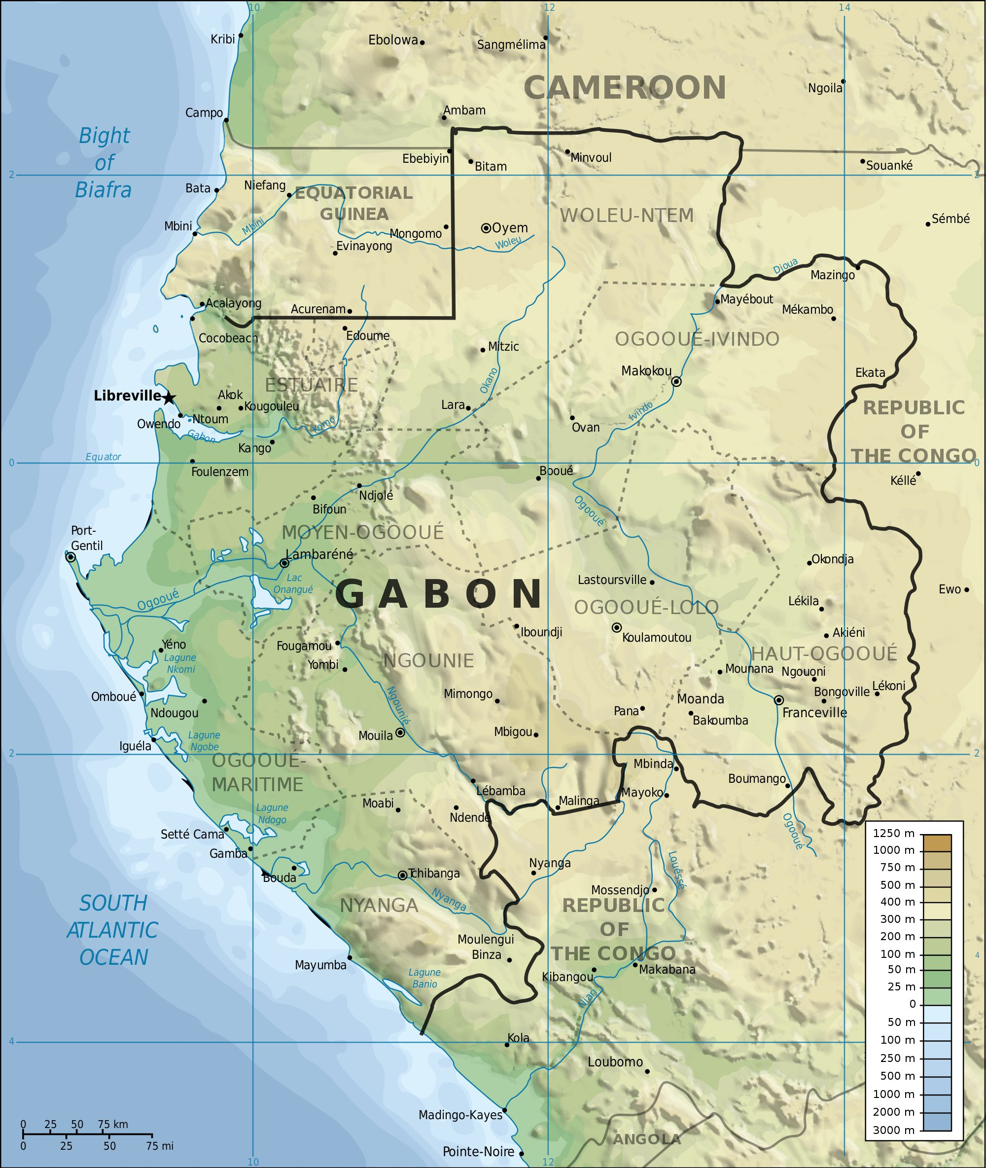 الخريطة الطبوغرافية لغابون