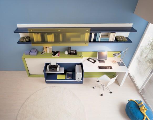 الازرق بغرفة نوم صغيرة