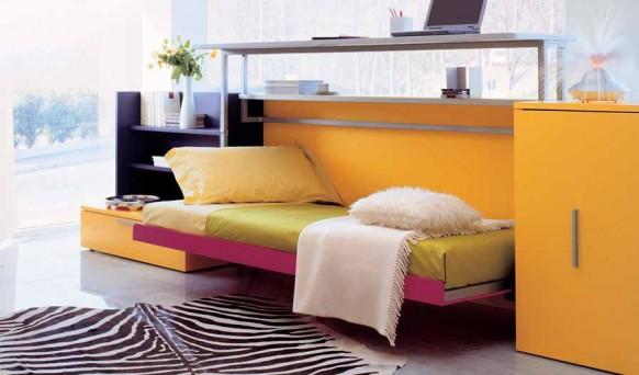 الاصفر بغرفة نوم صغيرة