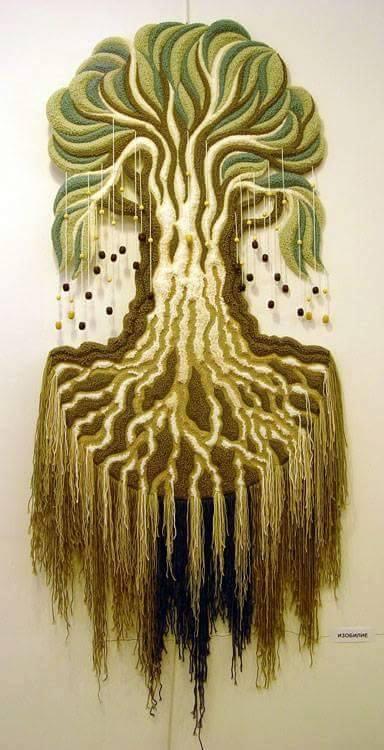 ديكورات النسيج اليدوي نسيج-شجرة-ب