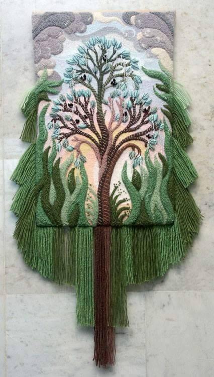 ديكورات النسيج اليدوي نسيج-شجرة-خ