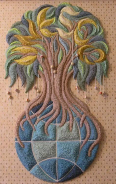 ديكورات النسيج اليدوي نسيج-شجرة-و
