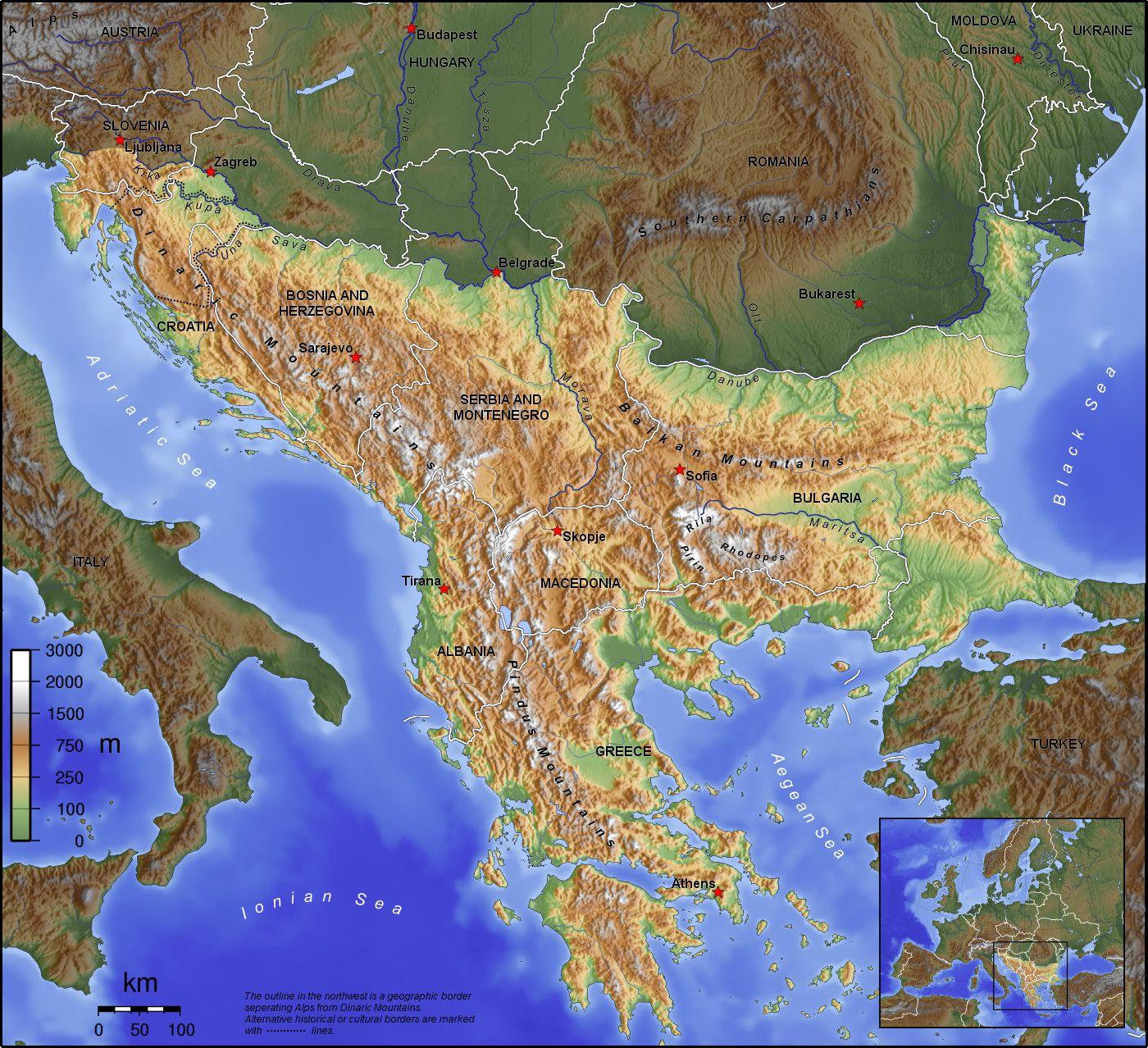 خريطة سلسلة جبال البلقان