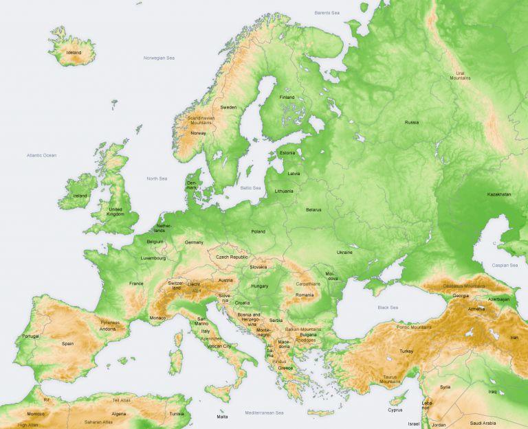 خريطة للبلاد الاوروبية