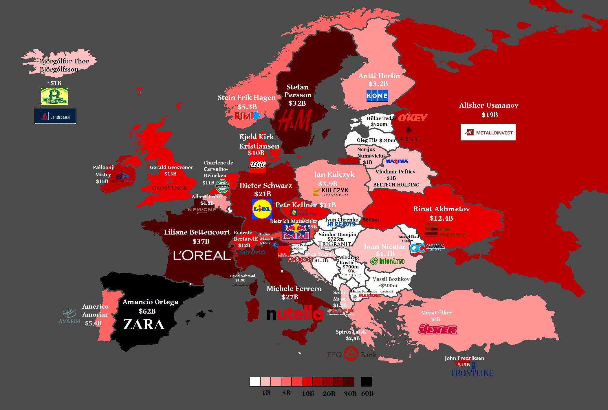 خريطة اغنى الدول الاوروبية