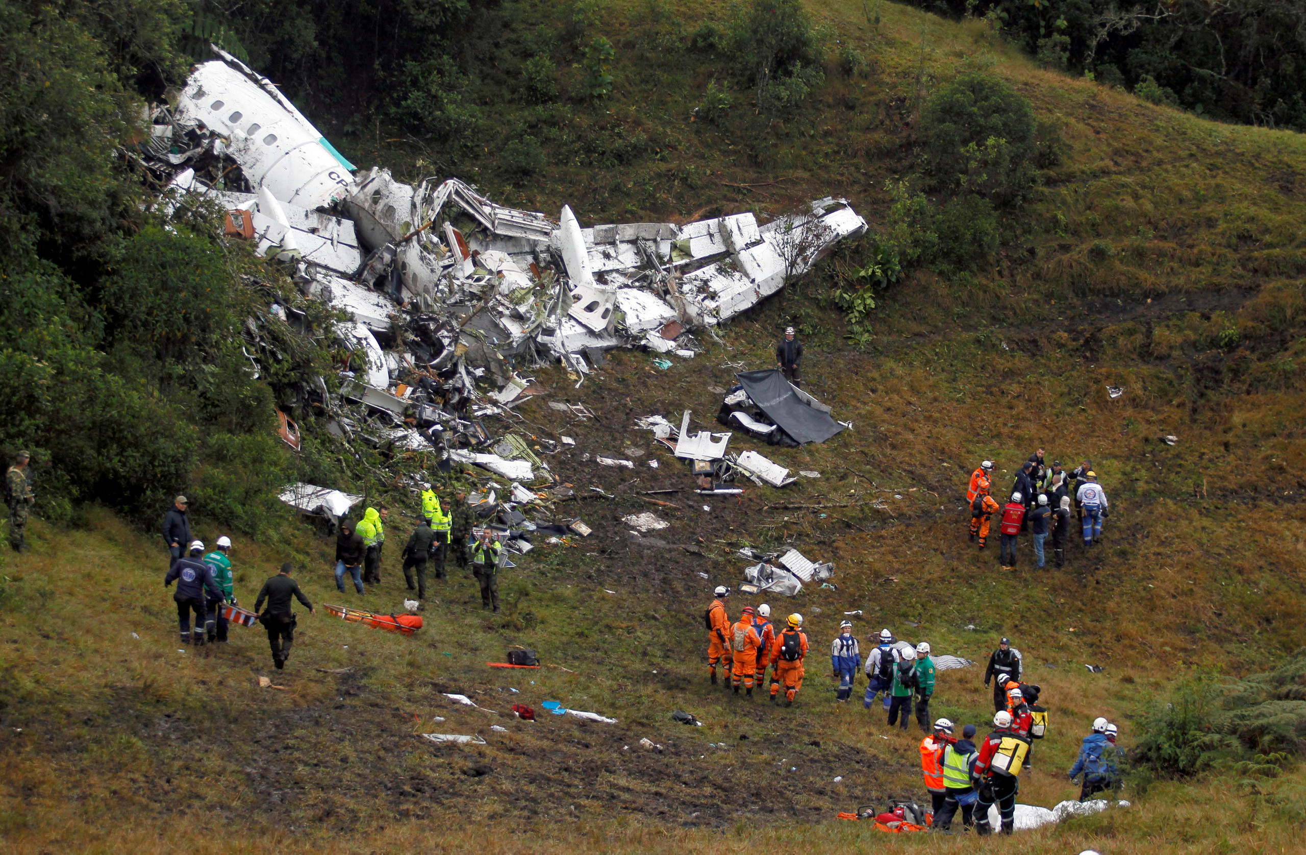 Wreckage from a plane that crashed into Colombian jungle with Brazilian soccer team Chapecoense is seen near Medellin