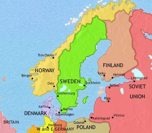 خريطة الدول الاسكندنافية